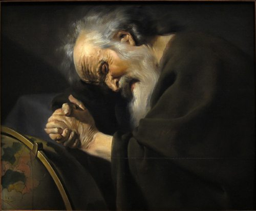 """Heraclitus by Johannes Moreelse. The image depicts him as """"the weeping philosopher"""" wringing his hands over the world, and as """"the obscure"""" dressed in dark clothing—both traditional motifs."""